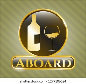 Shiny emblem with bottle and glass of wine icon and Aboard text inside
