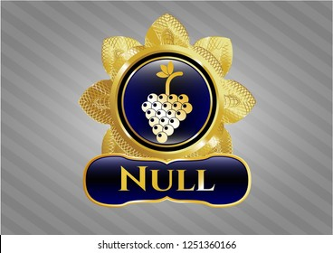 Shiny emblem with bunch of grapes icon and Null text inside