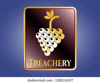 Shiny emblem with bunch of grapes icon and Treachery text inside