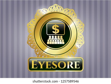 Shiny emblem with business congress icon and Eyesore text inside