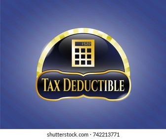 Shiny emblem with calculator icon and Tax Deductible text inside
