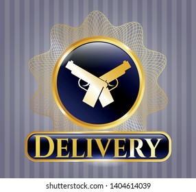 Shiny emblem with crossed pistols icon and Delivery text inside