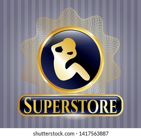 Shiny emblem with crunch icon and Superstore text inside