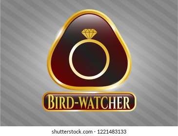 Shiny emblem with diamond ring icon and Bird-watcher text inside