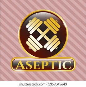 Shiny emblem with dumbbell icon and Aseptic text inside