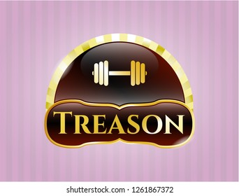 Shiny emblem with dumbbell icon and Treason text inside