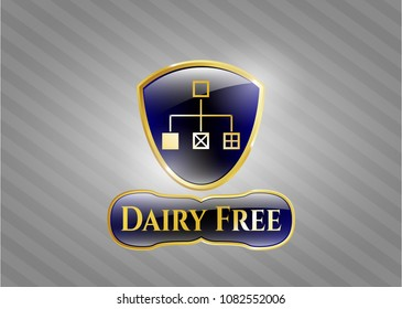 Shiny emblem with flowchart icon and Dairy Free text inside