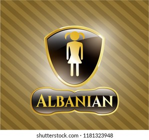 Shiny emblem with girl icon and Albanian text inside