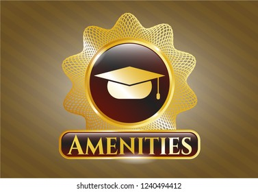 Shiny emblem with graduation cap icon and Amenities text inside