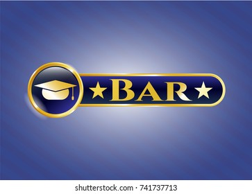 Shiny emblem with graduation cap icon and Bar text inside
