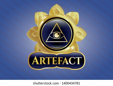 Shiny emblem with illuminati pyramid icon and Artefact text inside