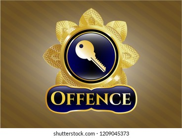 Shiny emblem with key icon and Offence text inside