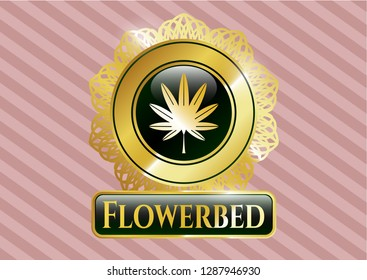 Shiny emblem with marijuana leaf, weed icon and Flowerbed text inside