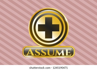 Shiny emblem with medicine icon and Assume text inside