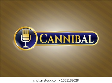 Shiny emblem with microphone icon and Cannibal text inside