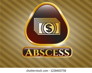 Shiny emblem with money icon and Abscess text inside