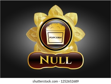Shiny emblem with popcorn icon and Null text inside