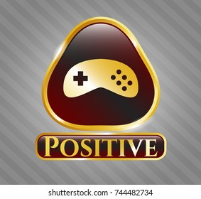 Shiny emblem with video game icon and Positive text inside