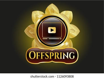 Shiny emblem with video player icon and Offspring text inside