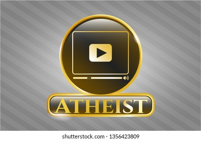 Shiny emblem with video player icon and Atheist text inside