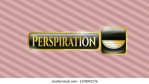 Shiny emblem with watermelon icon and Perspiration text inside