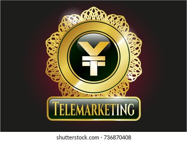 Shiny emblem with yuan icon and Telemarketing text inside