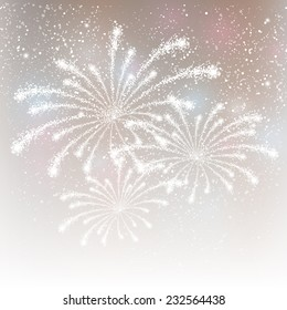 Shiny fireworks on silver background