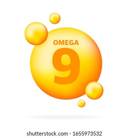 Shiny fish oil nutrition, omega 9, for good health isolated on transparent background. Vector illustration.