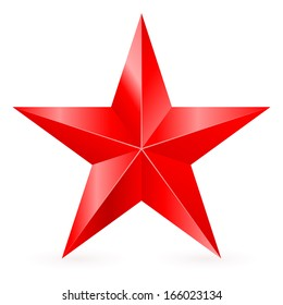 Shiny five-pointed red star. Illustration on white background.