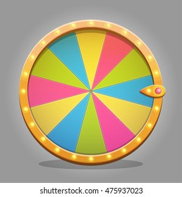 Shiny fortune wheel design element for game ui and graphic design. Sparkling lamps and multicolored wheel board.