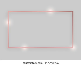 Shiny frame with glowing effects. Rose gold rectangular frame with shadow on grey background. Vector illustration