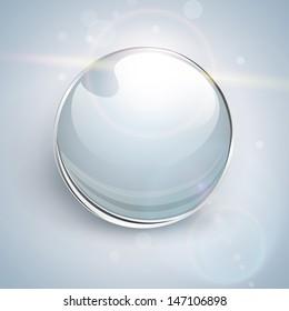 Shiny glass ball vector background.
