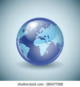 Shiny glass world globe