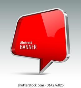 Shiny gloss red vector banner. eps 10