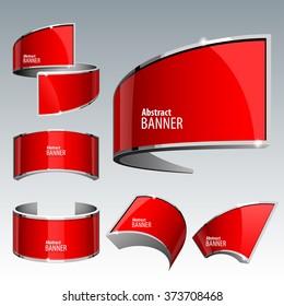Shiny gloss red vector banner set. eps 10