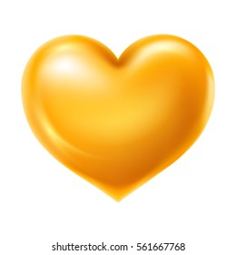 Shiny and glossy golden heart, symbol of love. Vector illustration, isolated on white background.