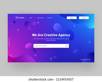 Shiny or glossy responsive landing page design with fluid art elements for creative agency concept.