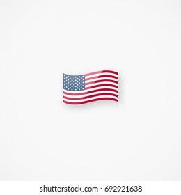 Shiny glossy small waving American flag vector icon