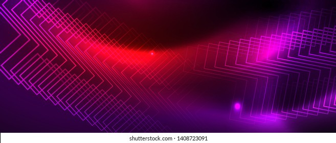 Shiny glowing design background, neon style lines, technology concept
