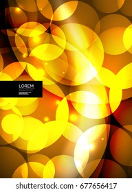 Shiny glowing glass circles, modern futuristic abstract background circle template, vector illustration