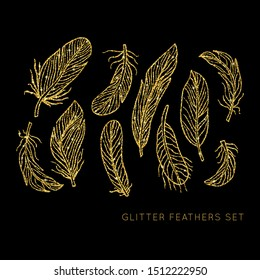 Shiny glowing gold glitter vector feathers set. Creative sparkling star dust texture for luxury rich greeting card. Isolated abstract Shape design element.