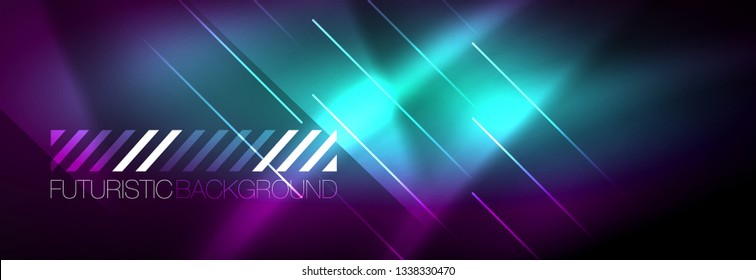 Shiny glowing lights neon color design background, vector