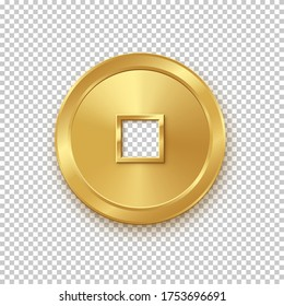 Shiny glowing realistic vector golden money coin china isolated on white background pattern. Magic gold oriental currency symbol object bringing wealth, fortune, prosperity, luck and treasure