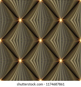 Shiny gold 3d modern vector seamless pattern. Abstract geometric textured background. Striped tiled rhombus, shine stars, lines, curves, dots. Golden creative ornate design with surface texture.