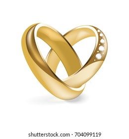 Shiny gold engagement ring with a diamond. Golden wedding ring isolated on a white background. Vector illustration.