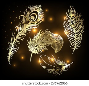 Shiny gold feather set over dark background. Concept for temporary flash metallic tattoo. Vector illustration.