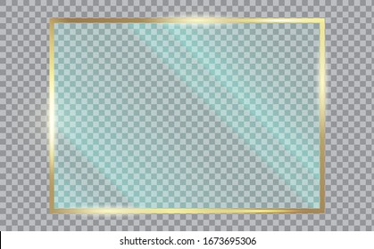 Shiny gold frame with glass. Clear glass showcase. Realistic window mockup. Acrylic and glass texture with glares and light.