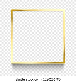 Shiny gold frame. Golden square, rectangle 1x1 frames borders ratio and golds border isolated vector illustration