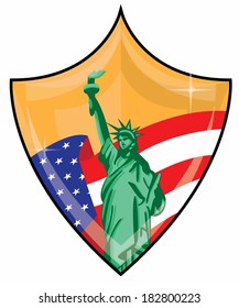 Shiny Gold Patriotic Shield with American Flag and Statue of Liberty Vector