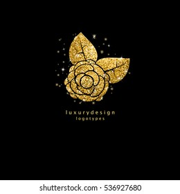 Shiny gold rose silhouette isolated on black background. Golden glitter glow flower logotype design. Sparkly rose for print, web design, personal or company style, greeting card, invitation etc